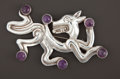Silver Smalls:Other , A MEXICAN SILVER AND AMETHYST QUARTZ FIGURAL BROOCH . WilliamSpratling, Taxco, Mexico, circa 1940-1946. Marks:SPRATLIN...