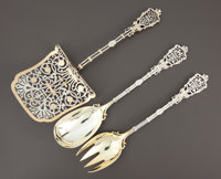 A FRENCH SILVER AND SILVER GILT SALAD SERVING SET AND ASPARAGUS SERVER Emile Sanner, Paris, France, circa 1890-19