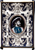 Decorative Arts, French:Other , A FRENCH ENAMEL PLAQUE AND FRAME . Maker unknown, Limoges, France,circa 1875-1895. Unmarked. 18 x 12 inches wide (45.7 x 30...