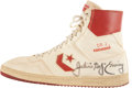 Basketball Collectibles:Others, Early 1980's Julius Erving Game Worn, Signed Shoe....