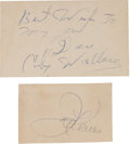 Boxing Collectibles:Autographs, Joe Louis and Coley Wallace Signed Cut Signatures Lot of 2....