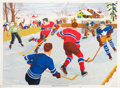 Hockey Collectibles:Photos, 1947 Toronto Maple Leafs and Montreal Canadiens Outdoor ScenePrint....