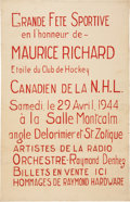 """Hockey Collectibles:Others, 1944 Maurice """"Rocket"""" Richard Broadside...."""