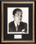 "Movie Posters:Mystery, Keye Luke in ""Charlie Chan at the Olympics"" (20th Century Fox,1937). Framed Autograph and Photo (8"" X 10""). Mystery.. ..."