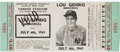 Baseball Collectibles:Tickets, 1941 Lou Gehrig Memorial Full Ticket. ...