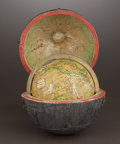 Decorative Arts, British:Other , A CASED LATE GEORGE III TRAVELING GLOBE . Published by Newton Son& Berry 66 Chancery Lane, London, England, circa 1830-1838...(Total: 2 Items)