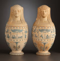 Ceramics & Porcelain, A PAIR OF COVERED ENGLISH FIGURAL EARTHENWARE VASES . Wedgwood, Burslem (Stoke-on-Trent), Staffordshire, England, circa 1877... (Total: 4 Items)