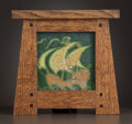 A FRAMED AMERICAN ART POTTERY TILE Attributed to Grueby Faience Co., Boston, Massachusetts, circa 1900 Unmark