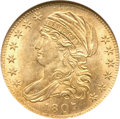 Early Half Eagles, 1807 $5 Bust Left MS64 NGC. Breen-6453, BD-8, R.2....