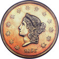 Territorial Gold, 1855 $50 Wass Molitor Fifty Dollar--Re-Engraved, Polished--NGC Details. XF. K-9, R.5....