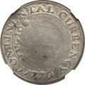 Colonials, 1776 $1 Continental Dollar, CURRENCY, Pewter Fine 12 NGC. Newman2-C, Hodder 2-A.3, W-8455, R.4....
