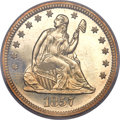 Proof Seated Quarters, 1857 25C PR64 Cameo PCGS. CAC....