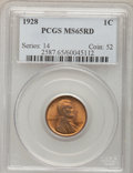 Lincoln Cents: , 1928 1C MS65 Red PCGS. PCGS Population (412/367). NGC Census:(159/118). Mintage: 134,116,000. Numismedia Wsl. Price for pr...