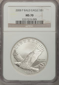 Modern Issues, (2)2008-P $1 Bald Eagle MS70 NGC.... (Total: 2 coins)