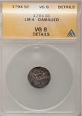 Early Half Dimes: , 1794 H10C --Damaged--ANACS. VG8 Details. LM-4. NGC Census: (1/118).PCGS Population (3/158). Mintage: 7,700. Numismedia Wsl...