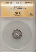 Early Half Dimes: , 1795 H10C --Damaged--ANACS. Good 4 Details. LM-10. NGC Census:(4/331). PCGS Population (7/492). Mintage: 78,600. Numismedi...
