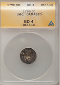Early Half Dimes: , 1796 H10C --Damaged--ANACS. Good 4 Details. LM-1. NGC Census:(0/58). PCGS Population (0/74). Mintage: 10,230. Numismedia W...
