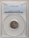 Seated Dimes: , 1864 10C Good 4 PCGS. PCGS Population (3/48). NGC Census: (0/36).Mintage: 11,000. Numismedia Wsl. Price for problem free N...