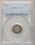 Barber Dimes: , 1895 10C VF25 PCGS. PCGS Population (4/132). NGC Census: (1/97).Mintage: 690,000. Numismedia Wsl. Price for problem free N...