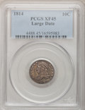 Bust Dimes: , 1814 10C Large Date XF45 PCGS. PCGS Population (4/100). NGC Census:(6/134). Mintage: 421,500. Numismedia Wsl. Price for pr...