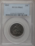 Proof Seated Quarters: , 1862 25C PR62 PCGS. PCGS Population (38/98). NGC Census: (15/86).Mintage: 550. Numismedia Wsl. Price for problem free NGC/...