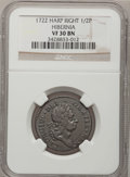 Colonials, 1722 1/2P Hibernia Halfpenny, Type Two, Harp Right VF30 NGC. Martin4.11-C.3, R.5. NGC Census: (0/2). PCGS Population (1/18...