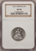 Seated Quarters: , 1855 25C Arrows AU58 NGC. NGC Census: (23/48). PCGS Population(13/58). Mintage: 2,857,000. Numismedia Wsl. Price for probl...