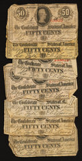 Confederate Notes:1863 Issues, T63 50 Cents 1863 Seven Examples.. ... (Total: 7 notes)