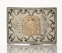 AN AMERICAN SILVER AND GOLD GENTLEMAN'S BELT BUCKLE George W. Shiebler & Co., New York, New York, circa 1880 Ma...