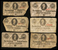 Confederate Notes:1863 Issues, T63 50 Cents 1863 Five Examples Good-VG or Better. T64 50 Cents1864 VG-Fine.. ... (Total: 6 notes)