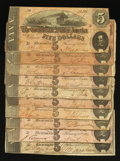 Confederate Notes:1864 Issues, T69 $5 1864 Ten Examples.. ... (Total: 10 notes)