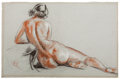 Fine Art - Work on Paper:Drawing, HENRY GEORGE KELLER (American, 1869-1949). Four drawings of thefemale nude. Charcoal, red chalk and white chalk in vari...(Total: 4 Items)