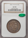 Coins of Hawaii: , 1883 50C Hawaii Half Dollar AU58 NGC. CAC. NGC Census: (53/146).PCGS Population (41/209). Mintage: 700,000. (#10991)...