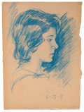 Fine Art - Work on Paper:Drawing, CLYDE J SINGER (American, 1908-1999). Portrait of a A YoungWoman and Portrait of a Young Boy , 1930s. Blue chalkan... (Total: 2 Items)