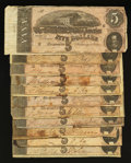 Confederate Notes:1864 Issues, T69 $5 1864 Eleven Examples.. ... (Total: 11 notes)