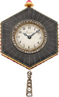 Timepieces:Pendant , Longines Very Fine Gem Set Gold & Enamel Pendant Watch, circa1905. ...