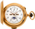 Timepieces:Pocket (pre 1900) , Longines Fine Gold Minute Repeater With Chronograph, Triple Calendar & Moon Phase, circa 1890's. ...