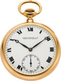 Timepieces:Pocket (post 1900), Patek Philippe Gold Pocket Watch, Extra Quality With Guillaume Balance, circa 1915. ...