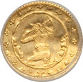 "California Gold Charms, ""1883"" California Gold Charm, Miner With Pick, Q Reverse, Round Token MS66 NGC. 0.13 gm...."