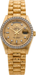 Timepieces:Wristwatch, Rolex Ref. 18078/18000 Diamond & Gold President, circa 1979. ...