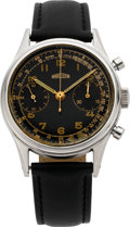 Timepieces:Wristwatch, Angelus Large Steel Waterproof Chronograph, circa 1940's. ...