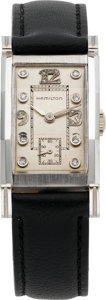 Timepieces:Wristwatch, Hamilton Diamond Dial White Gold Wristwatch, circa 1940's. ...