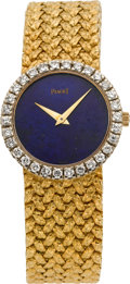 Timepieces:Wristwatch, Piaget Ladies Gold & Diamond Wristwatch With Lapis Lazuli Dial, circa 1980. ...