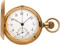 Timepieces:Pocket (pre 1900) , Swiss Gold Hunters Cased Chronograph, circa 1895. ...
