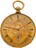 Timepieces:Pocket (pre 1900) , Edouard Favre Brandt Gold Key Wind, Ornate Engraved Movement, circa1870. ...