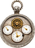 Timepieces:Pocket (pre 1900) , Swiss Multi-Dial Verge Fusee With Visible Balance, circa 1810. ...