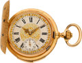 Timepieces:Pocket (pre 1900) , Swiss Fine Gold & Enamel Minute Repeater With Ornate Dial, circa 1890's. ...