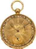 Timepieces:Pocket (pre 1900) , Girod Dechoudens Gold Key Wind With Multicolor Dial, circa 1860....