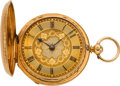 Timepieces:Pocket (pre 1900) , Rotherhams London Gold Fancy Dial Fusee, circa 1850. ...