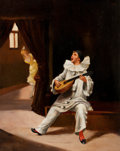 Fine Art - Painting, European:Modern  (1900 1949)  , ENRIQUE MIRALLES (Spanish, b. 1883). Pierrot Serenade. Oil on panel. 16-1/2 x 13-1/2 inches (41.9 x 34.3 cm). Signed low...